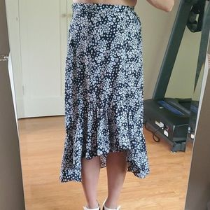 Floral high low high-waisted skirt with ruffle